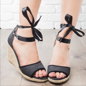 Shoes - Black denim wedges